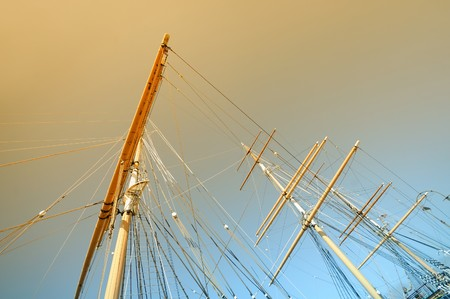 tall ship: Tall ship masts in twilight seen from below