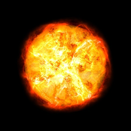 Ball of fire isolated on black background