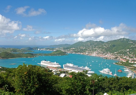 Lucht foto van de Amerikaanse Maagden eilanden, St. Thomas  Stockfoto
