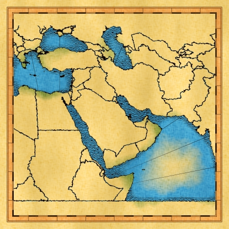 rendered: Antique map of the Middle East approximate, computer rendered