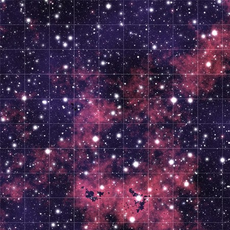 Map of the night sky with millions of stars