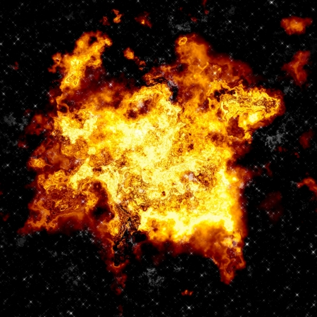 Giant explosion in space with bright flames