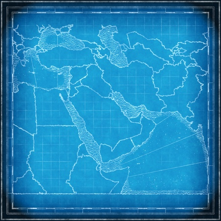 rendered: Blueprint map of the Middle East approximate, computer rendered