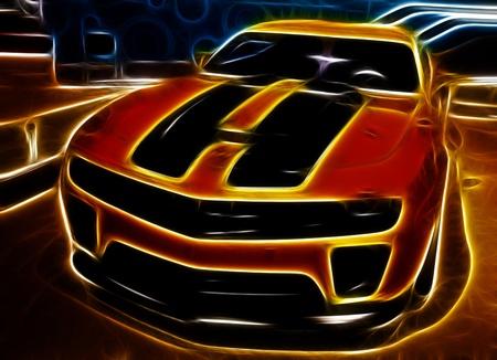 Luxury sports car as streamlines concept 版權商用圖片