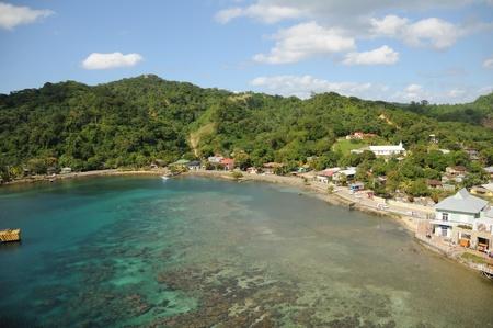 Luchtmening van het Caraïbische Eiland Roatan, Honduras Stockfoto