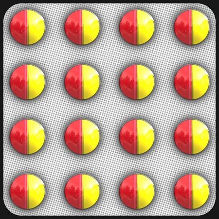 Yellow and orange pills closeup view