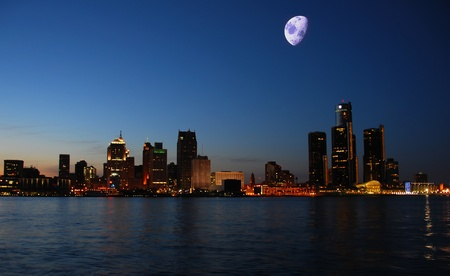Detroit's waterfront and skyline at night Stock Photo