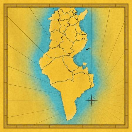 Oude hand getrokken kaart van Tunesië