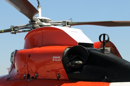Powerful helicopter engines used on a Coast Guard aircraft
