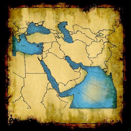 Antikes verblasste Karte des Nahen Ostens Standard-Bild - 8975059