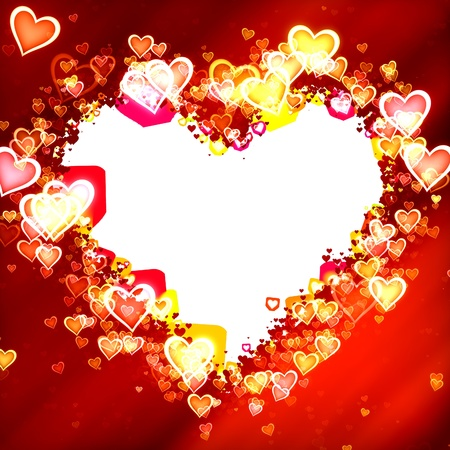 Red hearts and background forming a frame with copy space Stok Fotoğraf