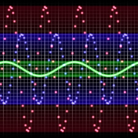 sine: Colorful electornic display of sine waves on test equipment Stock Photo