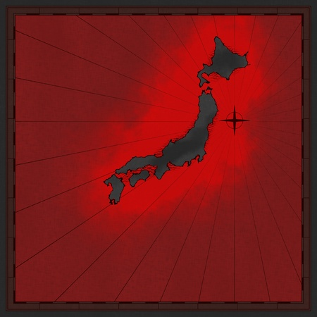 approximate: Map of japan with red glowing color Stock Photo