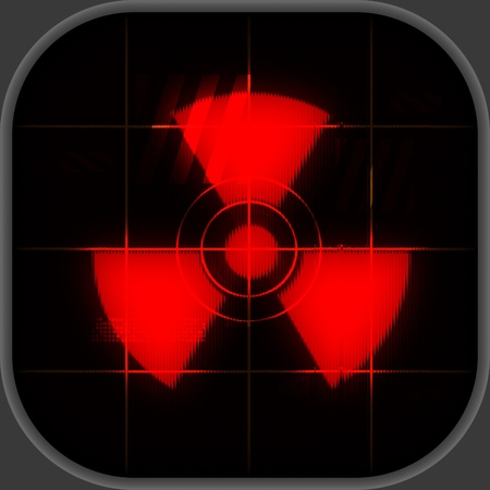 Square display showing a nuclear warning symbol