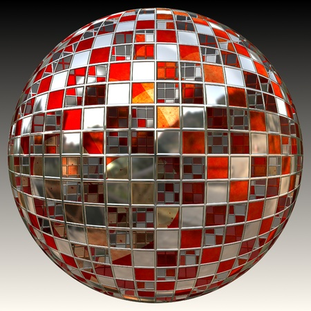 reflective: Colorful shiny ball covered with reflective mirrors Stock Photo