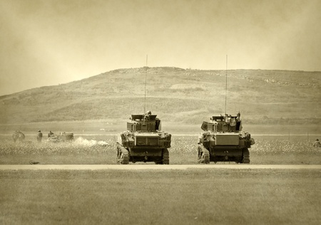 World War 2 era tank battle in faded color Banco de Imagens