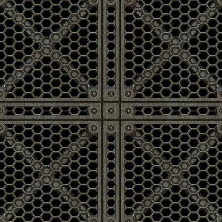 metal grate: Square manhole cover made of cast iron
