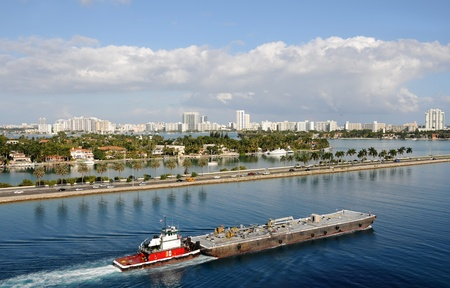 pushed: Barge being pushed down the waterways of Miami