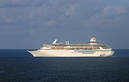 Modern cruise ship in white color cruising the Caribbean