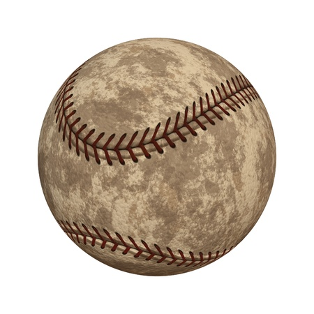 memorabilia: Old worn out baseball isolated on white background