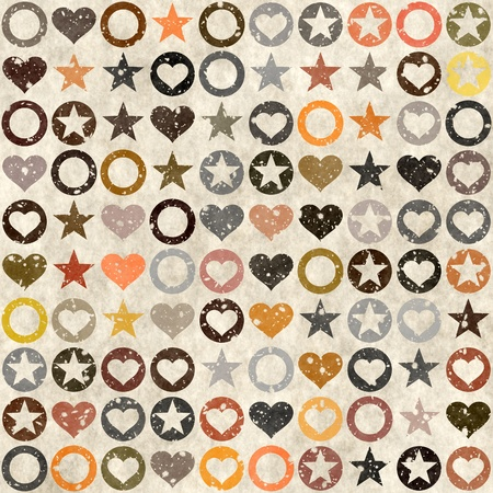 Old worn out wallpaper with starts and hearts Zdjęcie Seryjne