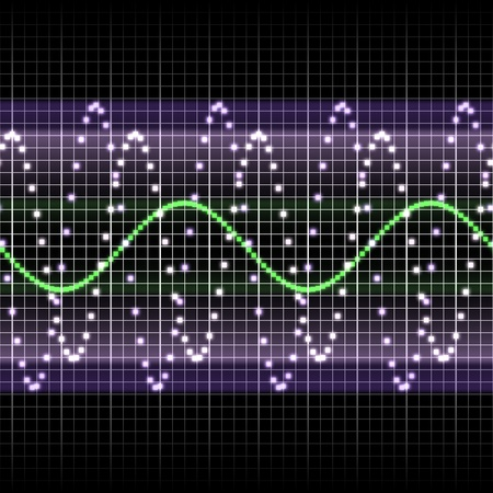 Radio frequency display with sine waves Stock Photo