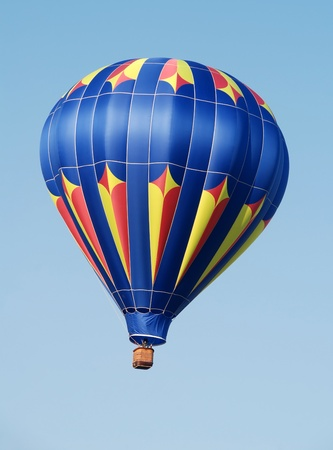 Colorful hot air balloon soaring in the sky