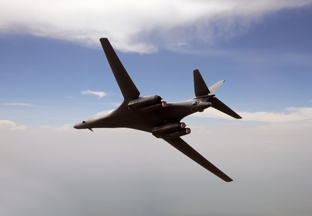 State of the art nuclear strategic bomber flying at high altitude