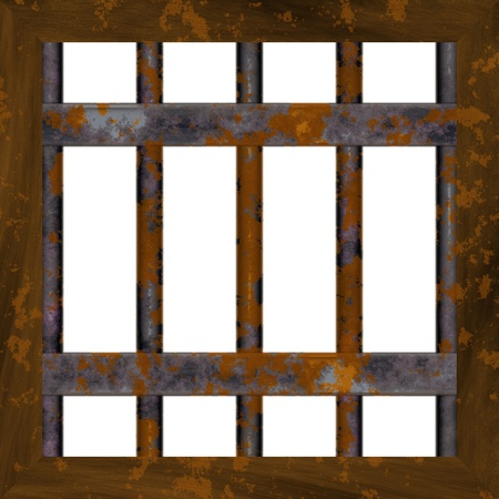 windows: Old and rusty prison window frame Stock Photo