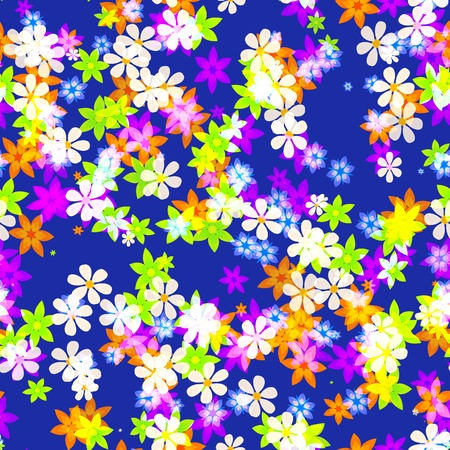 Colorful flowers scattered to form a seemless background