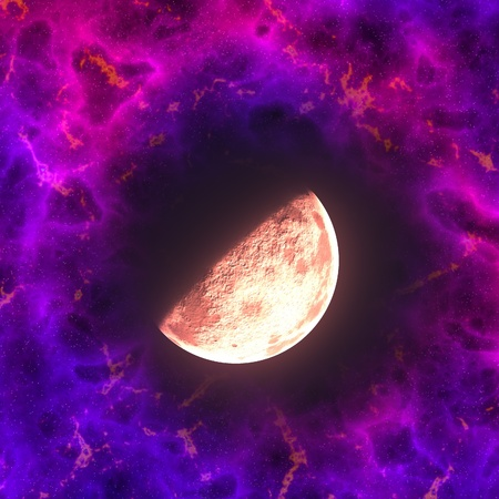 Distant planet surrounded by purple gas and stars