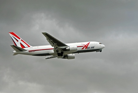 Miami, USA - August 12, 2007: ABX Air cargo jet airplane departing Miami international Airport. ABX Air was formerly known as Airborne Express and carries cargo for shippers like DHL