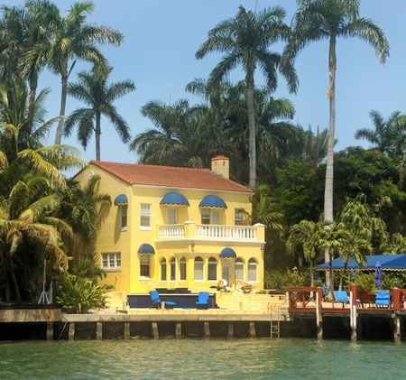 Expensive waterfront home in tropical Miami, Florida