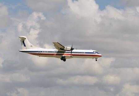 turboprop: Modern passenger turboprop airplane in flight Editorial