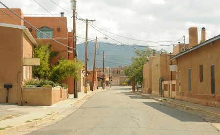Street scenery from Old Town in Santa Fe, New Mexico