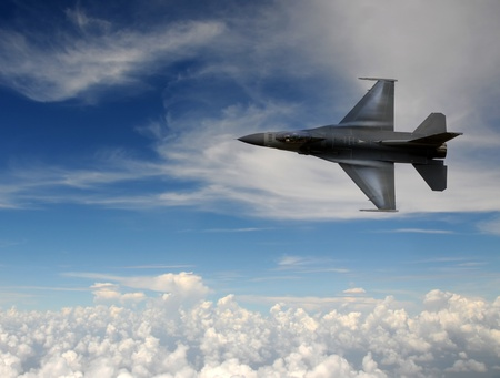 Modern air force jetfighter at high altitude Stock Photo