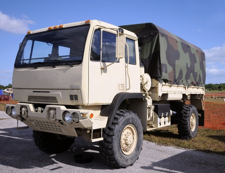 Military truck parked on an army base