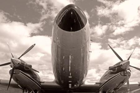Vintage turboprop airplane nose closeup view Фото со стока