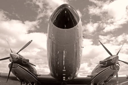 Vintage turboprop vliegtuig neus close-up zicht