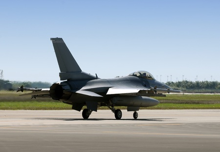 airforce: Modern air force jetfighter taxiing for takeoff