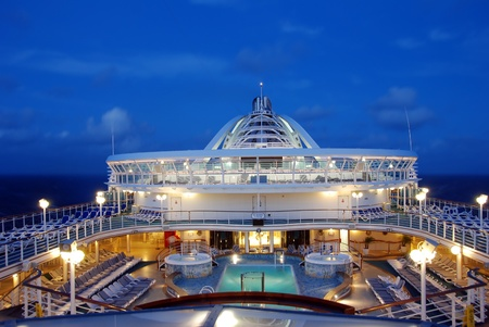 Top deck view of mdoern ocean liner at night