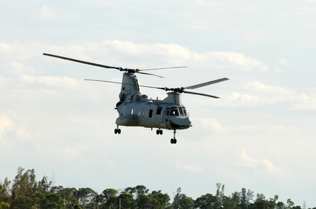 Modern US Marines helicopter departing on a mission