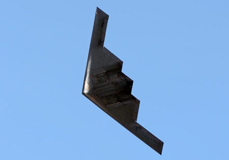 State of the art stealth bomber in flight