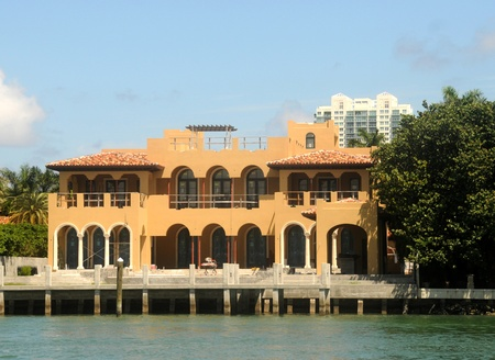residential construction: Luxurious waterfront mansion under construction in Miami, Florida Editorial