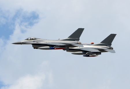 modern fighter: Two modern fighter jets at high altitude