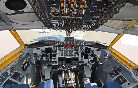 panel: Military air tanker cockpit view Editorial