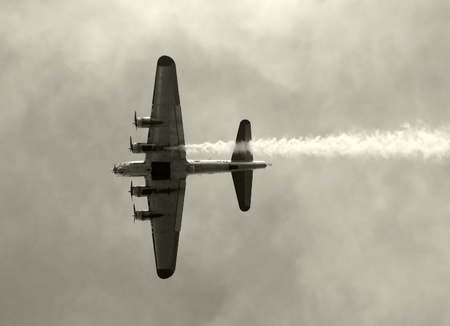 world war two: World War II era bomber in flight