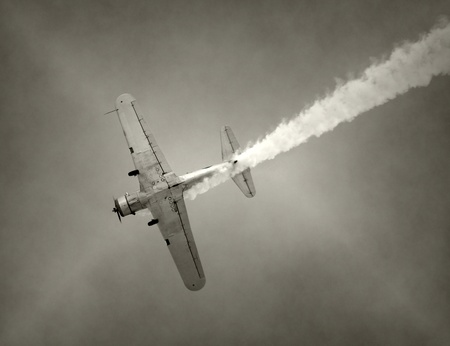World War II era fighter plane in flight Stock Photo