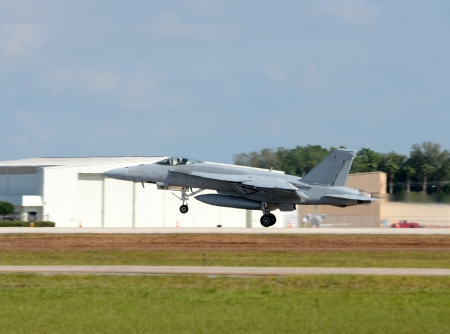 Modern military jet taking off on a mission