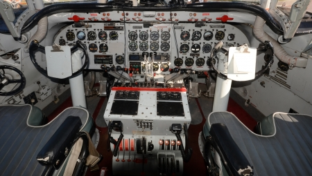 Cockpit interior view of 1950s airliner